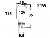 12V lasikanta polttimo  -  21W  -  T15