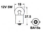 12V metallikanta polttimo  -  5W  -  BA15S