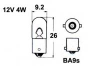 12V metallikanta polttimo  -  4W  -  BA9S