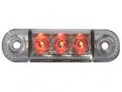 Äärivalo punainen LED-12-24V, 3xled, pinta-asennus, 84x24x25mm-ruuviväli 61mm, E-hyväksytty